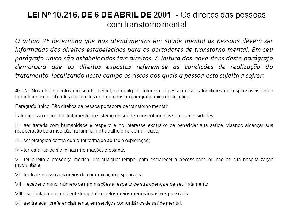 LEI No 10.216, DE 6 DE ABRIL DE 2001 - Os direitos das pessoas com transtorno mental
