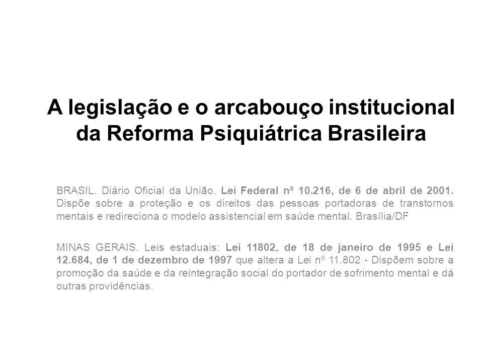 A legislação e o arcabouço institucional da Reforma Psiquiátrica Brasileira