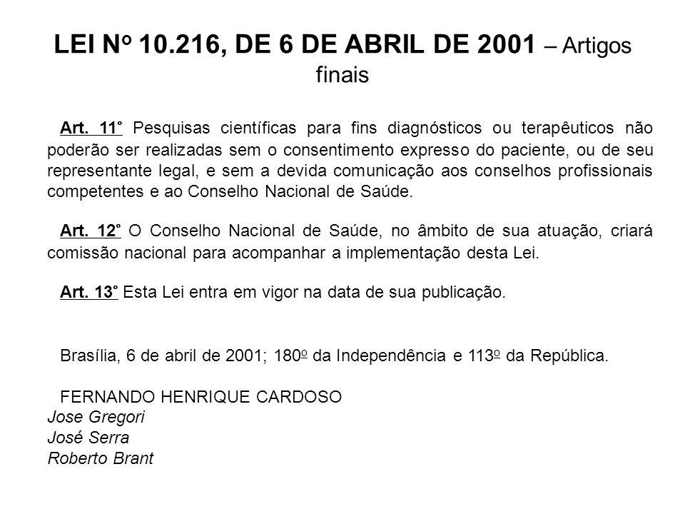 LEI No 10.216, DE 6 DE ABRIL DE 2001 – Artigos finais