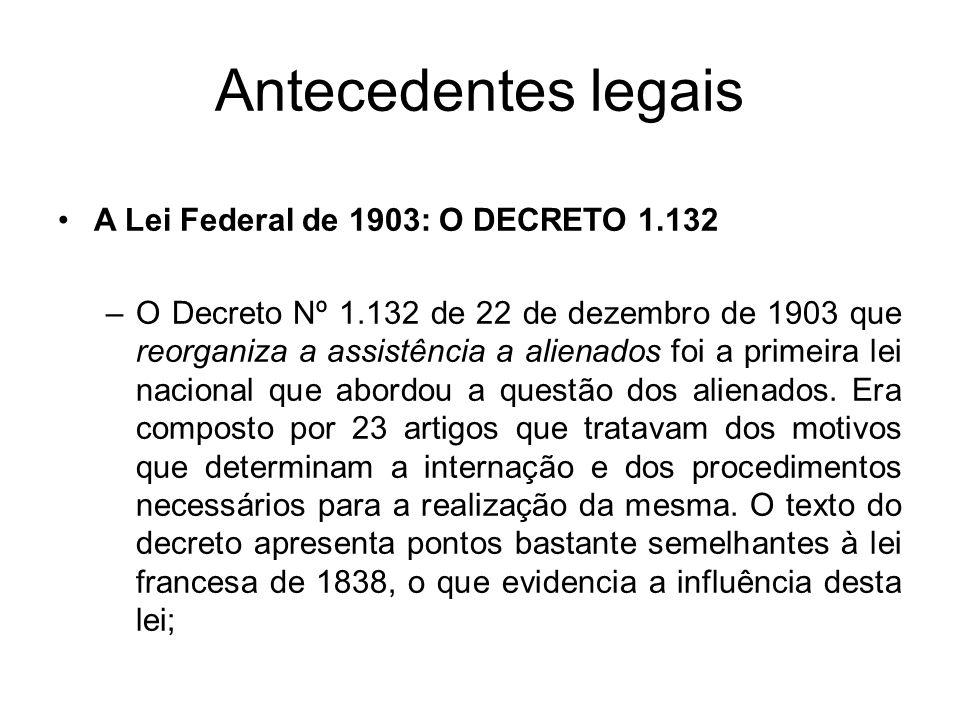 Antecedentes legais A Lei Federal de 1903: O DECRETO 1.132