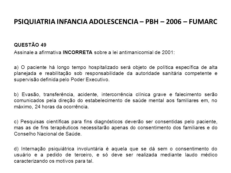 PSIQUIATRIA INFANCIA ADOLESCENCIA – PBH – 2006 – FUMARC