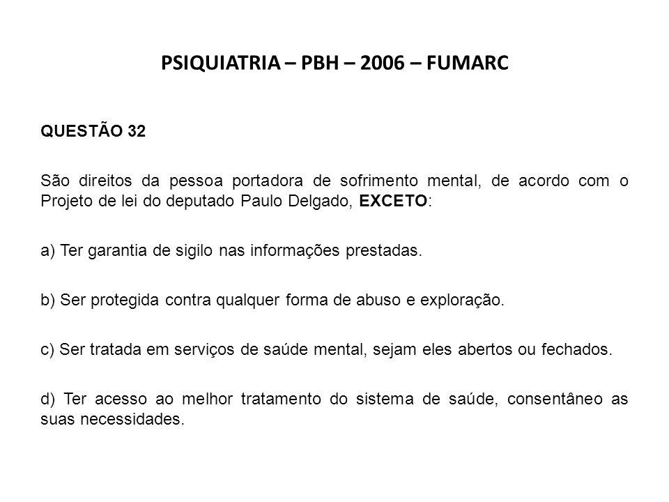 PSIQUIATRIA – PBH – 2006 – FUMARC