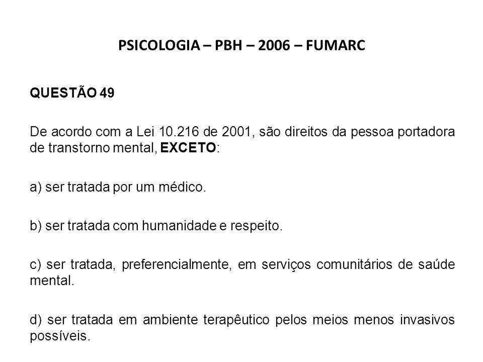 PSICOLOGIA – PBH – 2006 – FUMARC