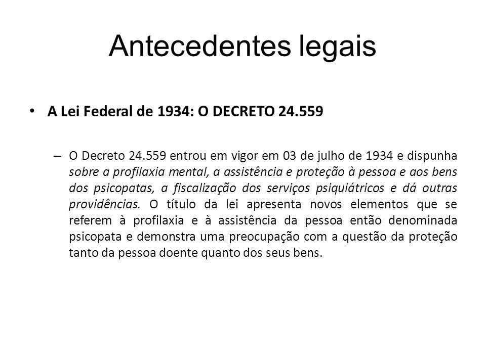 Antecedentes legais A Lei Federal de 1934: O DECRETO 24.559