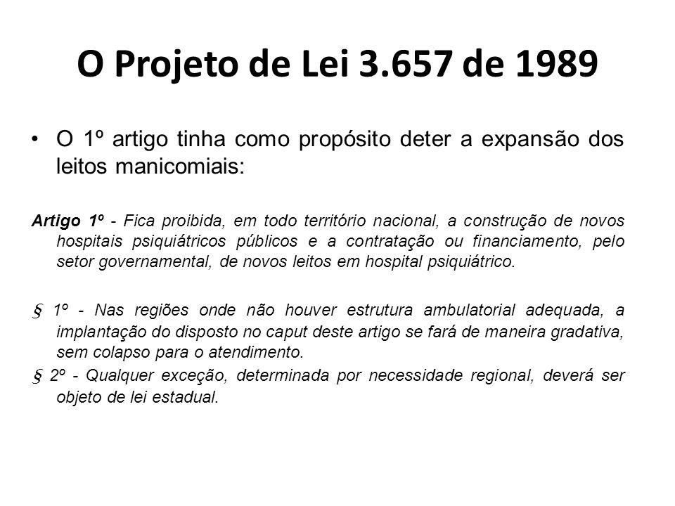 O Projeto de Lei 3.657 de 1989 O 1º artigo tinha como propósito deter a expansão dos leitos manicomiais: