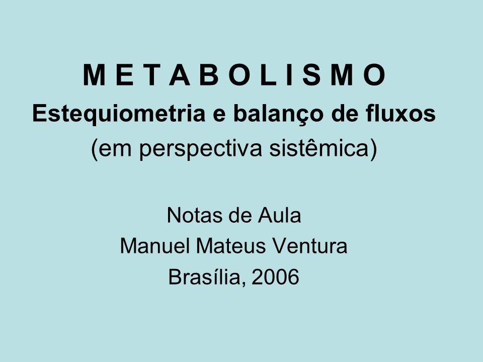 M E T A B O L I S M O Estequiometria e balanço de fluxos