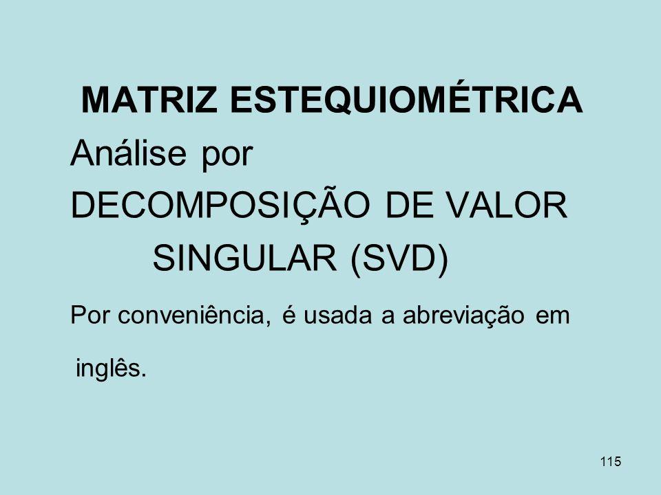 MATRIZ ESTEQUIOMÉTRICA Análise por DECOMPOSIÇÃO DE VALOR