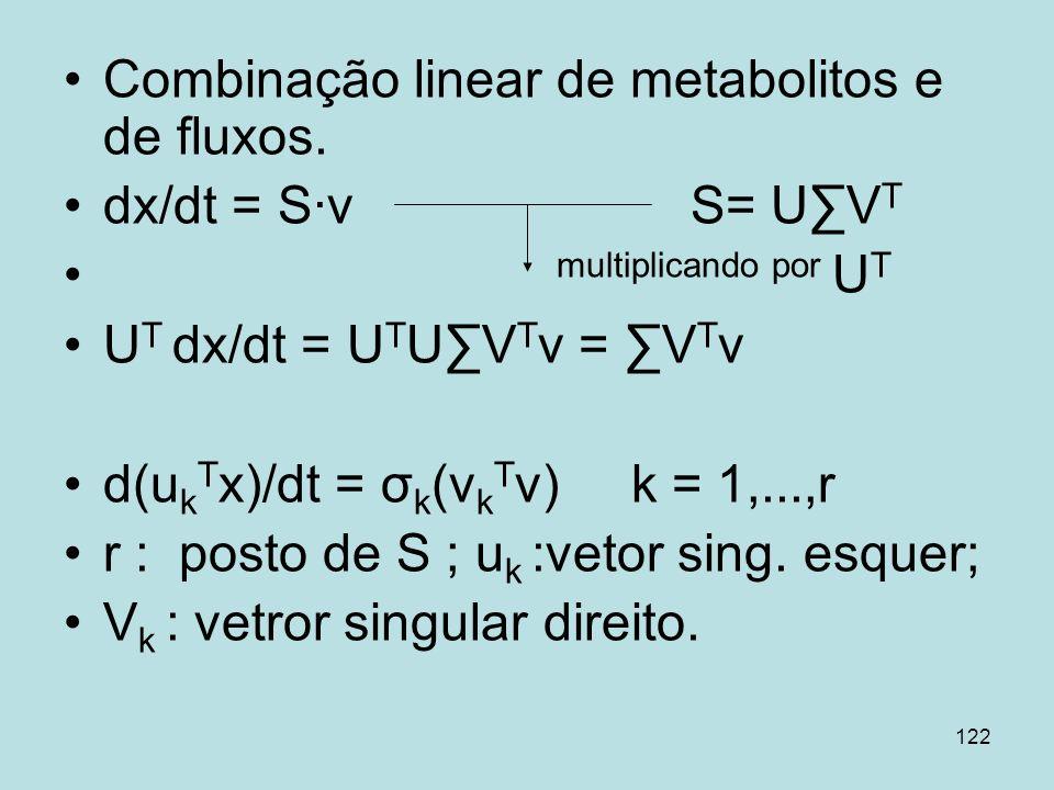 Combinação linear de metabolitos e de fluxos.