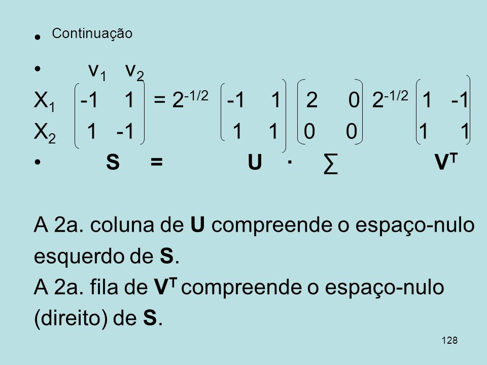 Continuaçãov1 v2. X1 -1 1 = 2-1/2 -1 1 2 0 2-1/2 1 -1. X2 1 -1 1 1 0 0 1 1.