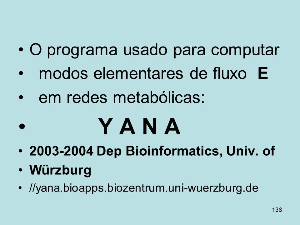 Y A N A O programa usado para computar modos elementares de fluxo E