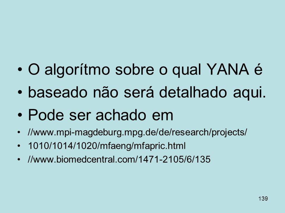 O algorítmo sobre o qual YANA é baseado não será detalhado aqui.