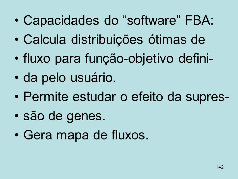 Capacidades do software FBA: