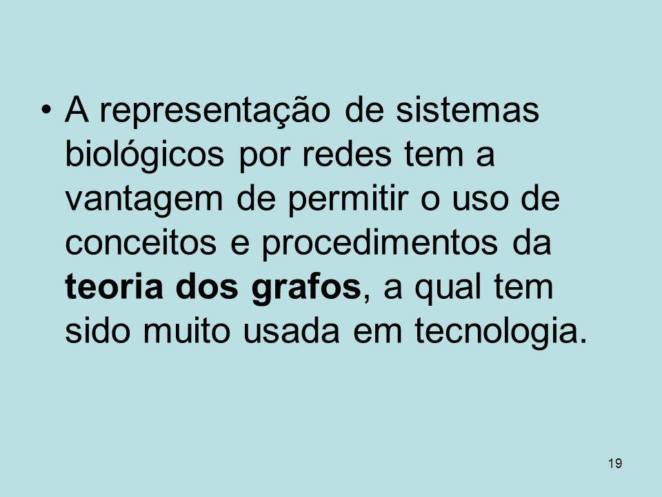 A representação de sistemas biológicos por redes tem a vantagem de permitir o uso de conceitos e procedimentos da teoria dos grafos, a qual tem sido muito usada em tecnologia.