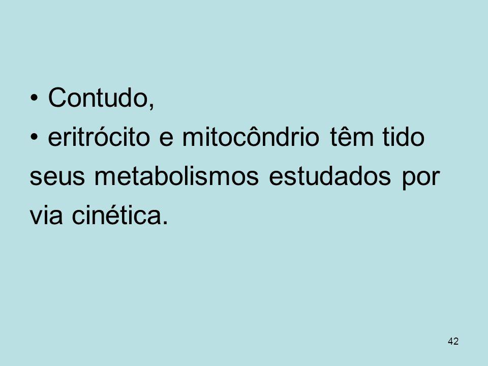 Contudo, eritrócito e mitocôndrio têm tido seus metabolismos estudados por via cinética.