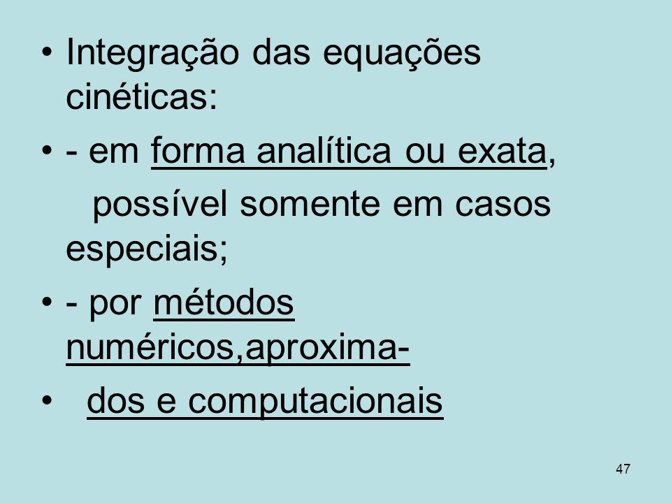 Integração das equações cinéticas:
