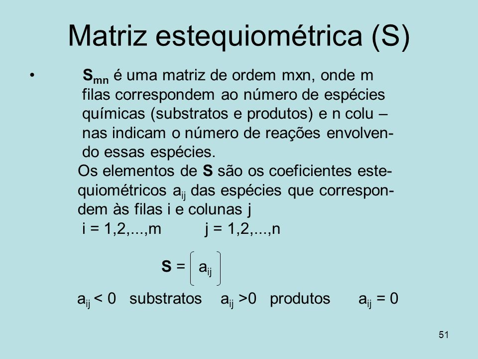 Matriz estequiométrica (S)
