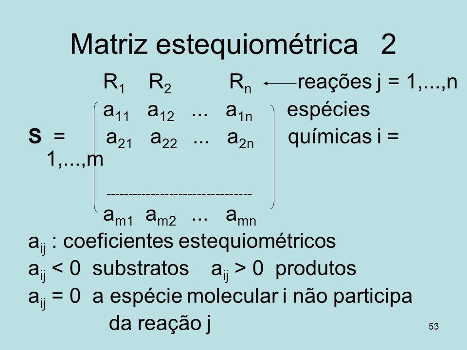 Matriz estequiométrica 2