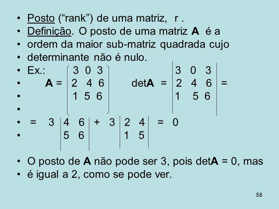 Posto ( rank ) de uma matriz, r .