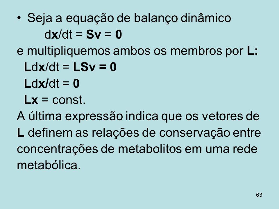Seja a equação de balanço dinâmico