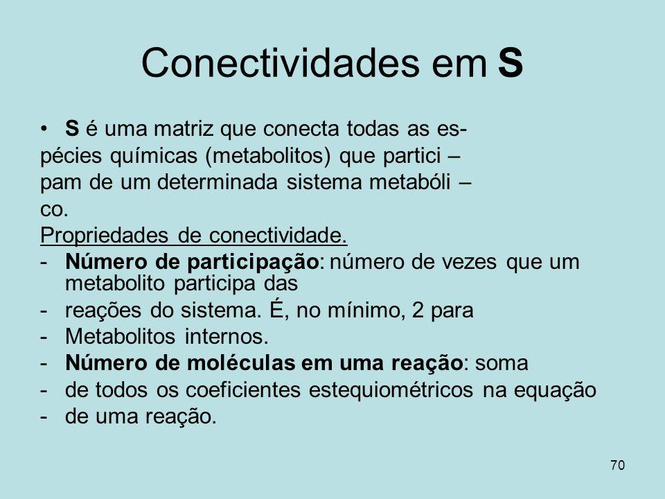 Conectividades em S S é uma matriz que conecta todas as es-