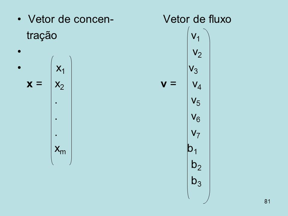 Vetor de concen- Vetor de fluxo