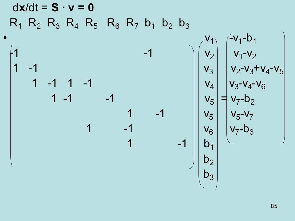 dx/dt = S ∙ v = 0R1 R2 R3 R4 R5 R6 R7 b1 b2 b3. v1 -v1-b1. -1 -1 v2 v1-v2.