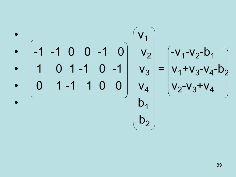 v1-1 -1 0 0 -1 0 v2 -v1-v2-b1. 1 0 1 -1 0 -1 v3 = v1+v3-v4-b2. 0 1 -1 1 0 0 v4 v2-v3+v4.