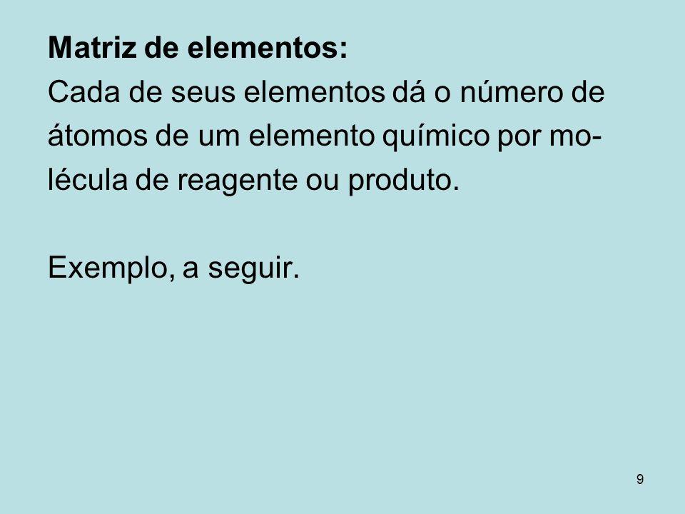 Matriz de elementos: Cada de seus elementos dá o número de. átomos de um elemento químico por mo- lécula de reagente ou produto.