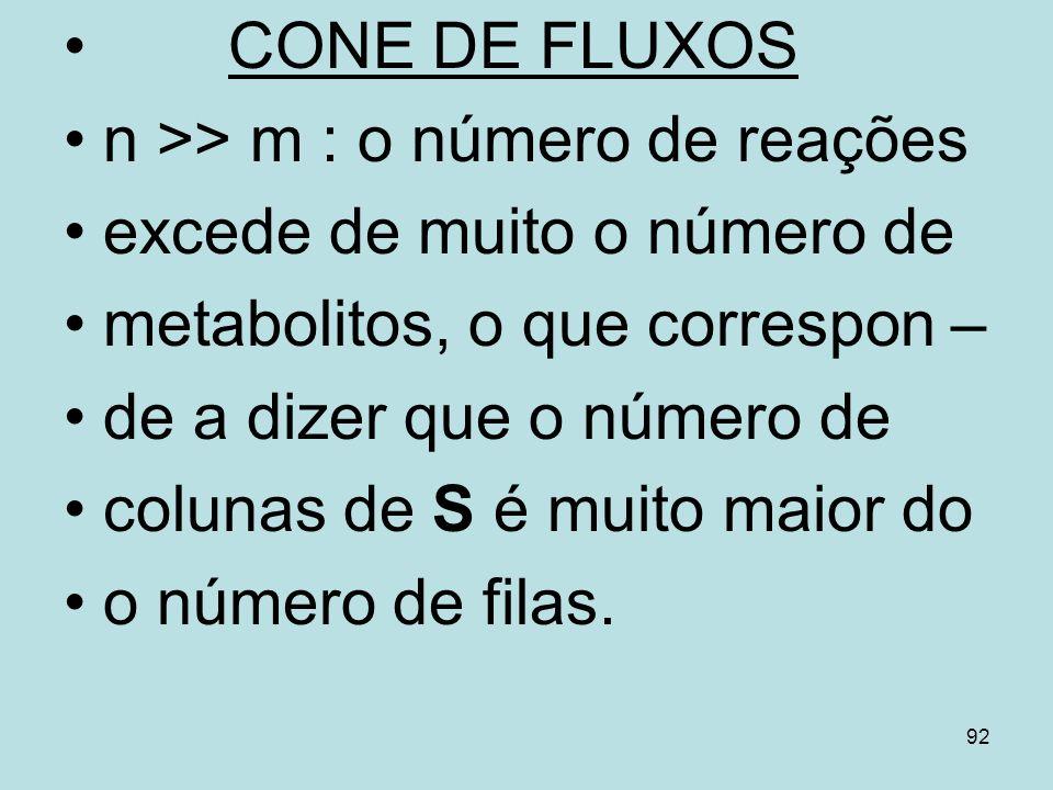 CONE DE FLUXOS n >> m : o número de reações. excede de muito o número de. metabolitos, o que correspon –