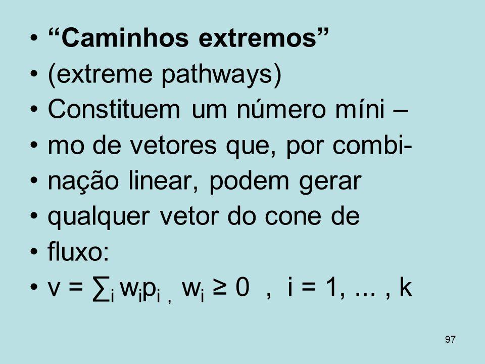 Caminhos extremos (extreme pathways) Constituem um número míni – mo de vetores que, por combi- nação linear, podem gerar.