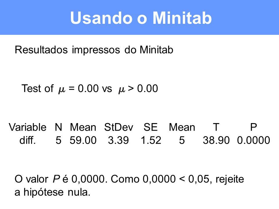 Usando o Minitab Resultados impressos do Minitab