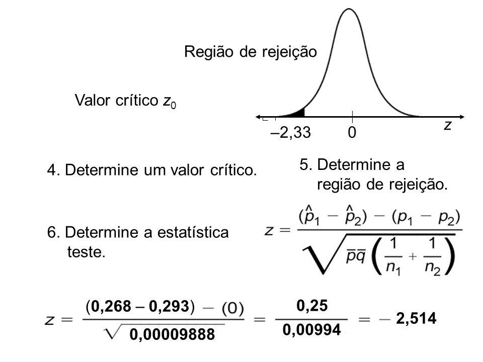 4. Determine um valor crítico.