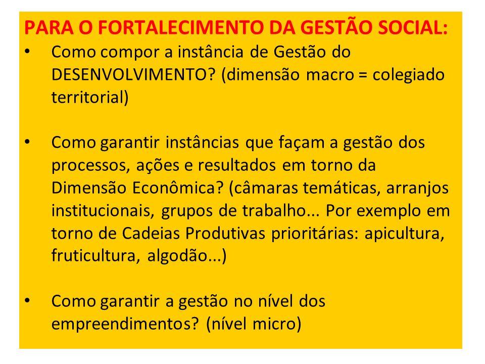 PARA O FORTALECIMENTO DA GESTÃO SOCIAL: