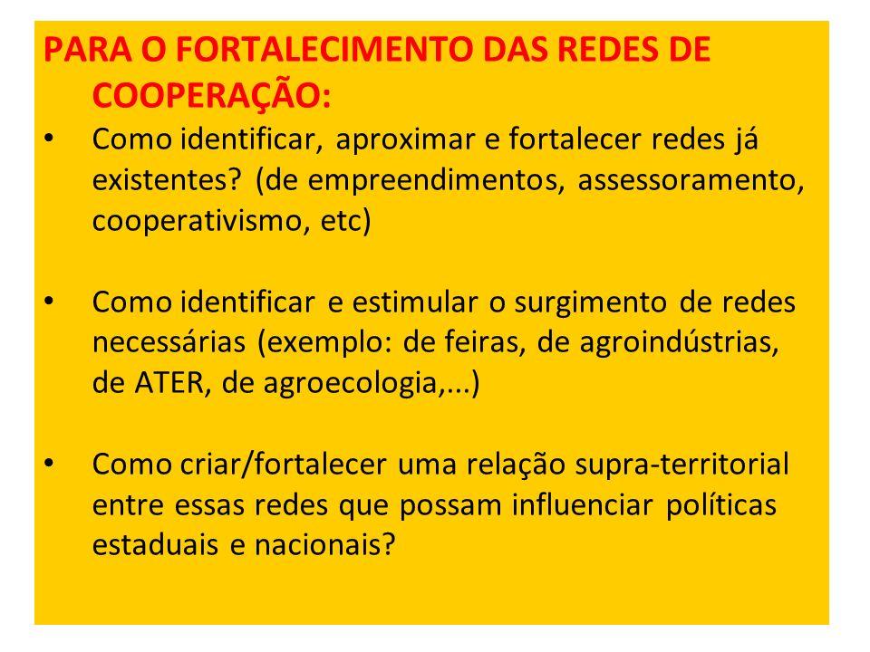 PARA O FORTALECIMENTO DAS REDES DE COOPERAÇÃO: