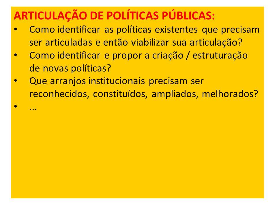 ARTICULAÇÃO DE POLÍTICAS PÚBLICAS: