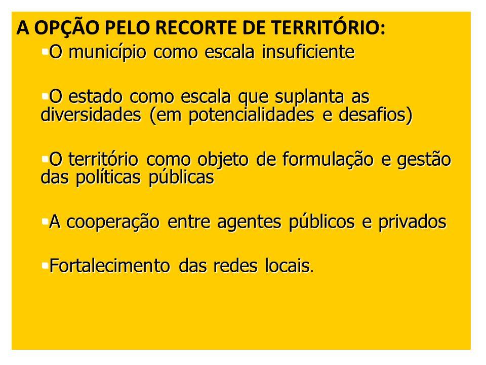 A OPÇÃO PELO RECORTE DE TERRITÓRIO: