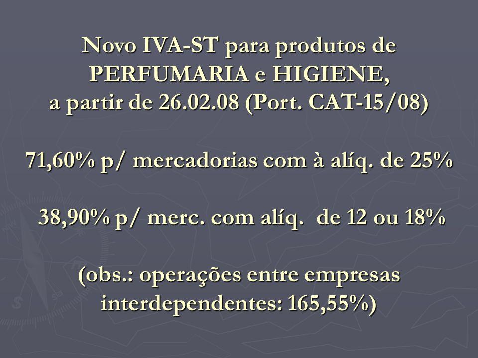 Novo IVA-ST para produtos de PERFUMARIA e HIGIENE,