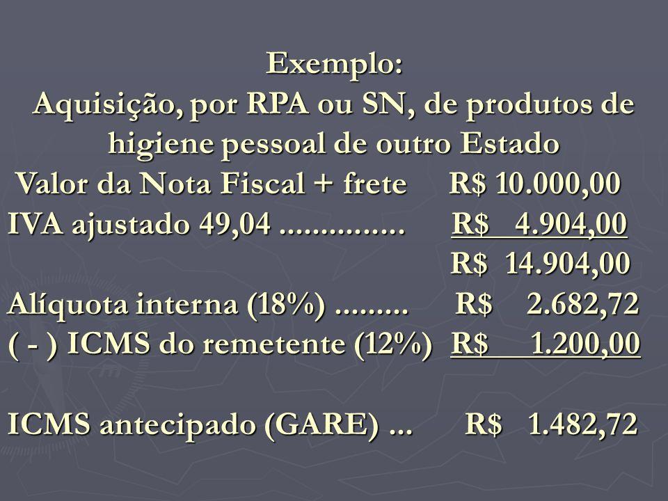 Exemplo: Aquisição, por RPA ou SN, de produtos de higiene pessoal de outro Estado. Valor da Nota Fiscal + frete R$ 10.000,00.