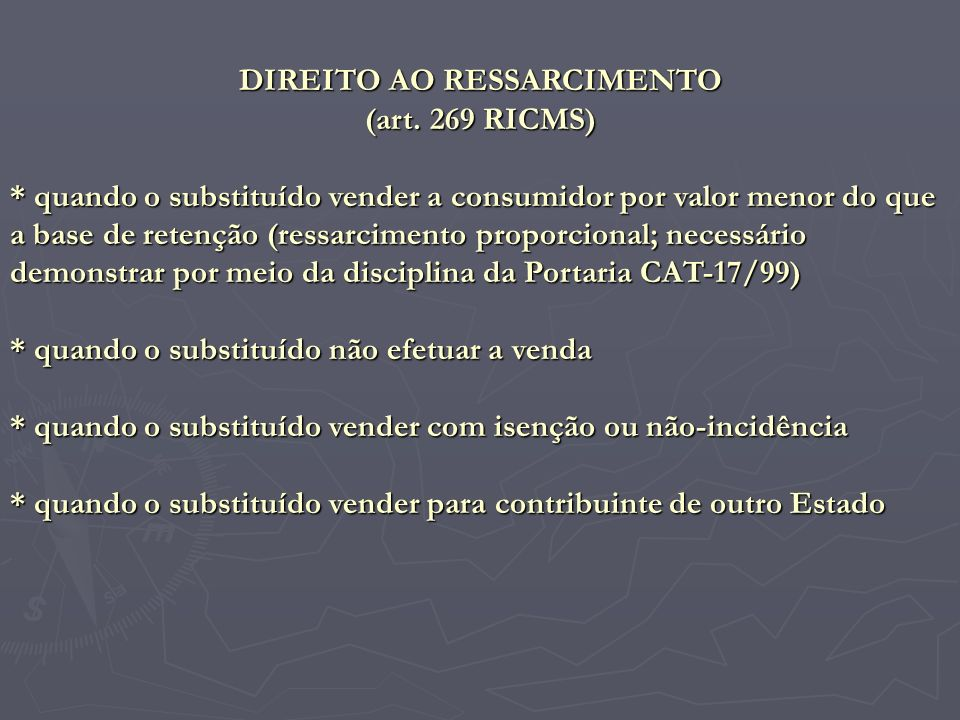 DIREITO AO RESSARCIMENTO
