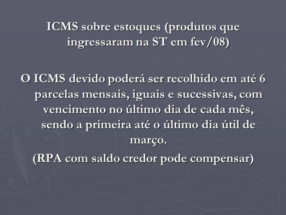 ICMS sobre estoques (produtos que ingressaram na ST em fev/08)