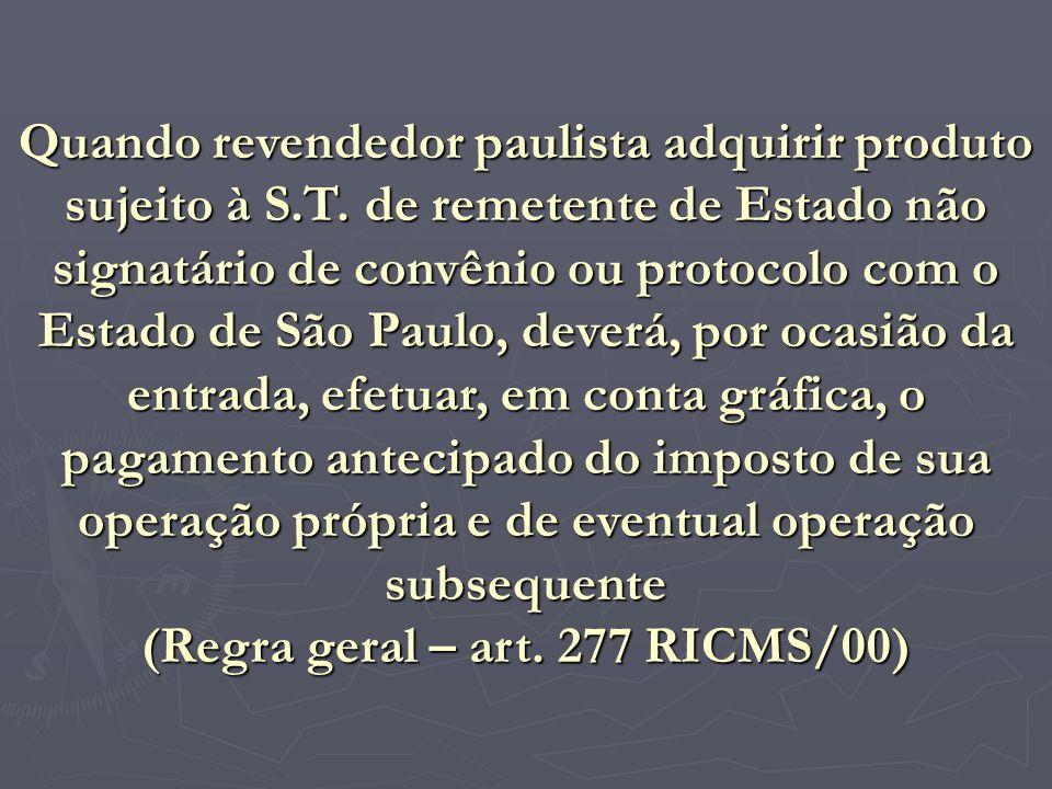 (Regra geral – art. 277 RICMS/00)