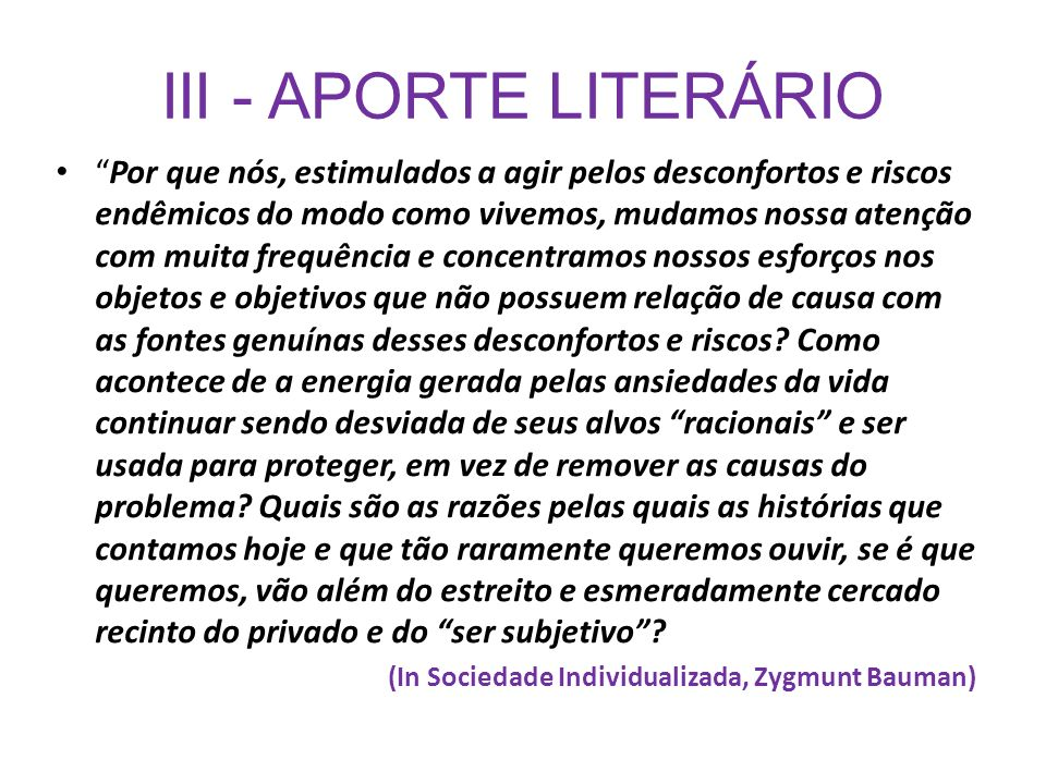 III - APORTE LITERÁRIO