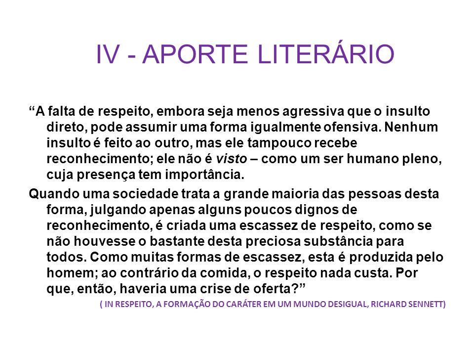 IV - APORTE LITERÁRIO