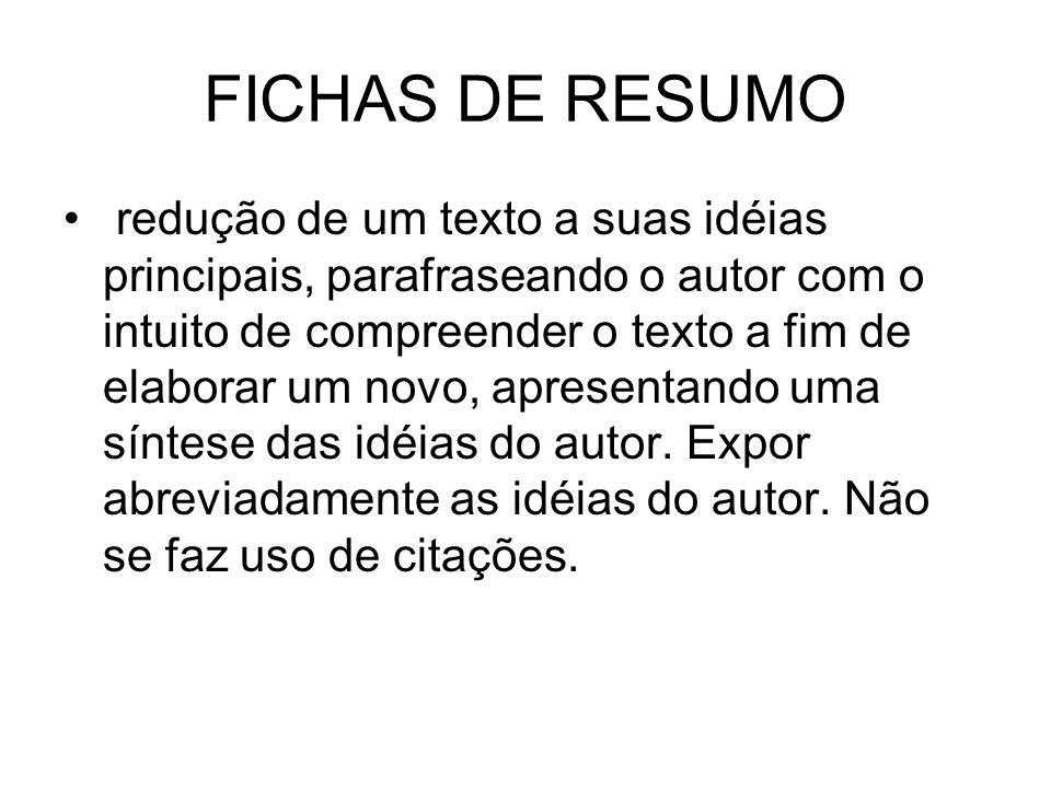 FICHAS DE RESUMO