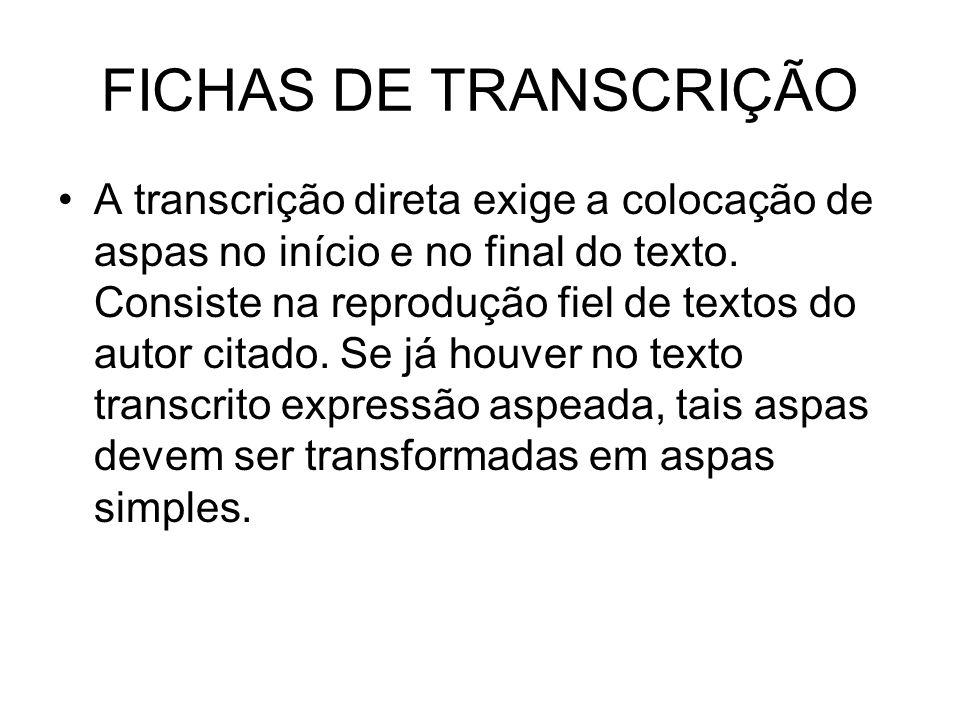 FICHAS DE TRANSCRIÇÃO