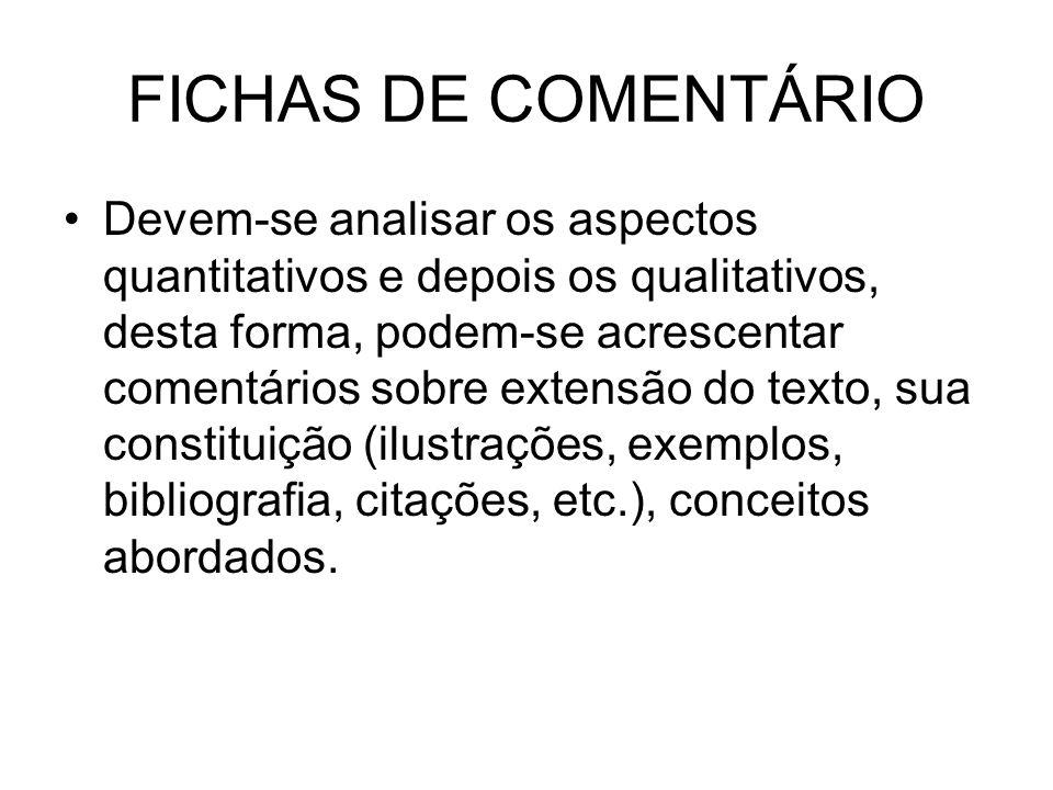 FICHAS DE COMENTÁRIO