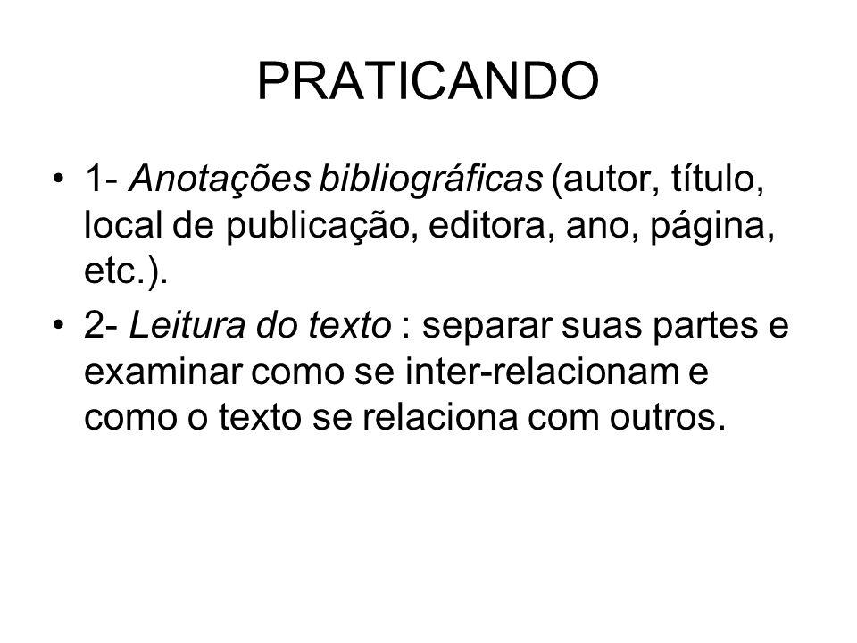 PRATICANDO 1- Anotações bibliográficas (autor, título, local de publicação, editora, ano, página, etc.).