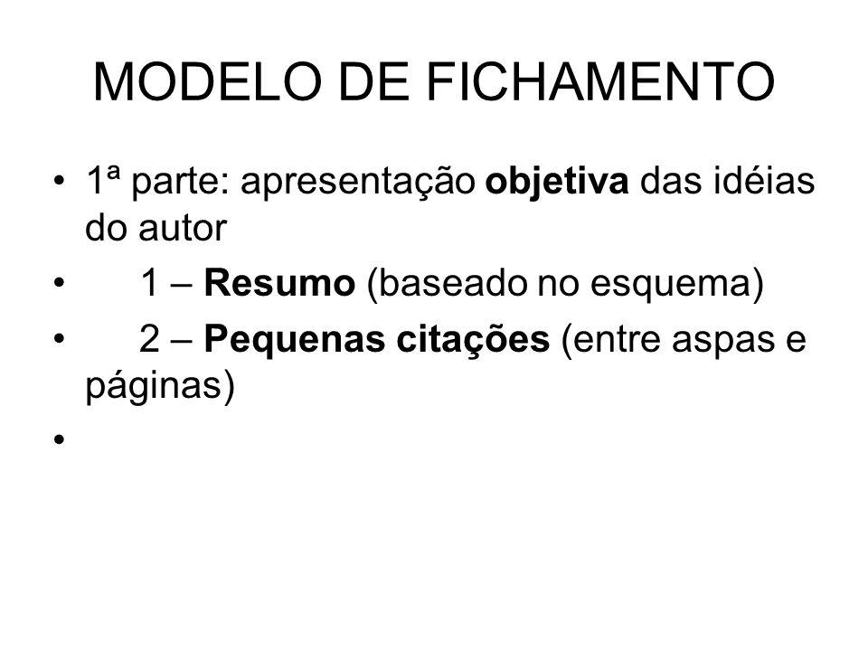 MODELO DE FICHAMENTO1ª parte: apresentação objetiva das idéias do autor. 1 – Resumo (baseado no esquema)