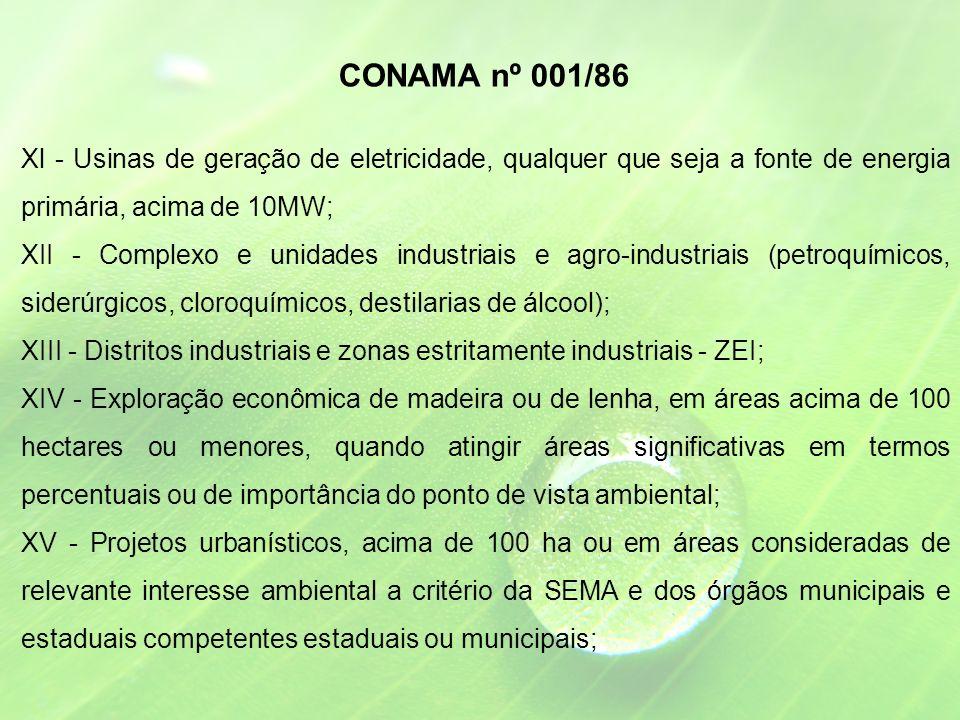 CONAMA nº 001/86 Xl - Usinas de geração de eletricidade, qualquer que seja a fonte de energia primária, acima de 10MW;