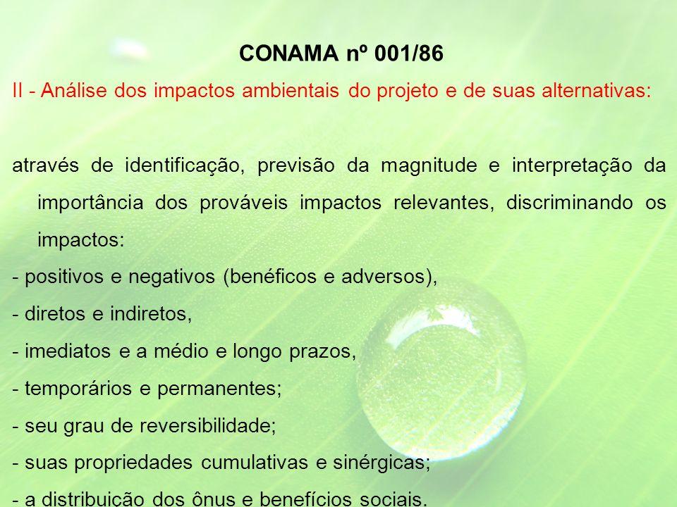 CONAMA nº 001/86 II - Análise dos impactos ambientais do projeto e de suas alternativas: